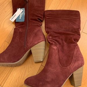 Slouchy Cranberry Boots